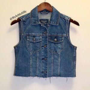 A&F denim cut off vest
